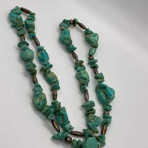 """Lot # 69 - VINTAGE CHUNKY TURQUOISE & SILVER NECKLACE 30"""""""