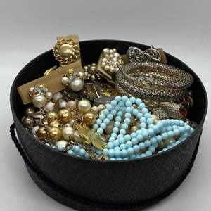 Lot # 116  - BOX FULL OF VINTAGE JEWELRY