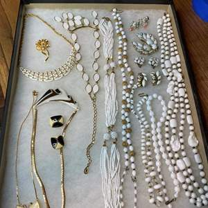 Lot # 177  - VINTAGE JEWELRY IN GLASS-TOP DISPLAY CASE