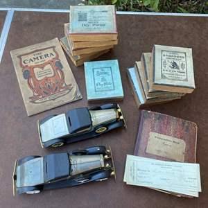 Lot # 189 - KODAK 4x5 DRY PLATES & BOOKS PLUS MODEL CARS