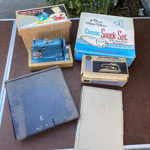 Lot # 190 - VINTAGE MODEL SEWING MACHINE, MILK GLASS TEA SET, CASH BOX & MORE!