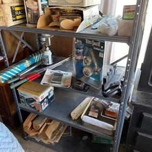 Lot # 192 - METAL GARAGE SHELF WITH CONTENTS