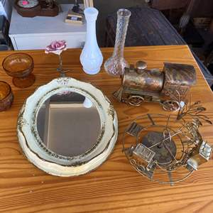 Lot # 200  - MISC VINTAGE DECOR (BOTH COPPER ITEMS ARE MUSICAL)