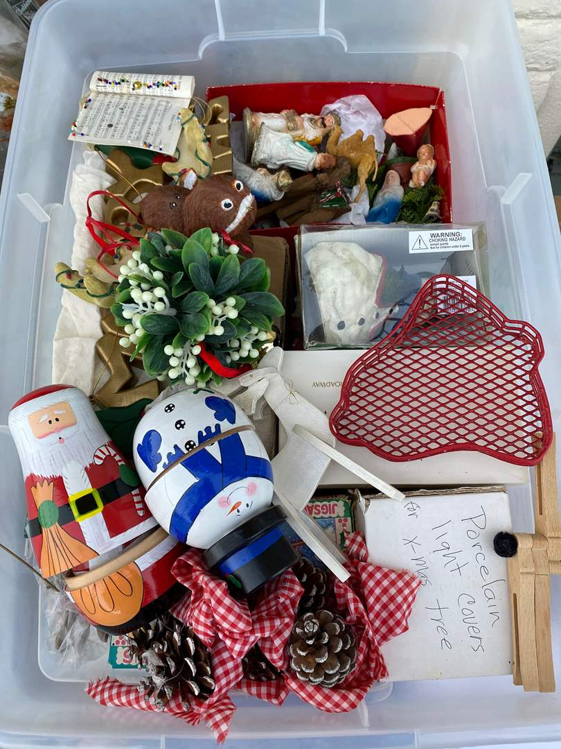 Lot # 3  - LARGE TOTE OF CHRISTMAS GOODS (main image)