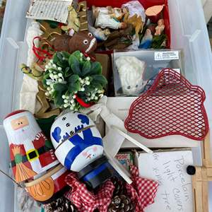 Auction Thumbnail for: Lot # 3  - LARGE TOTE OF CHRISTMAS GOODS