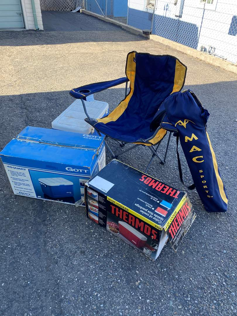 Lot # 77 - CAMPING GOODS - TWO CHAIRS - THREE COOLERS  (main image)