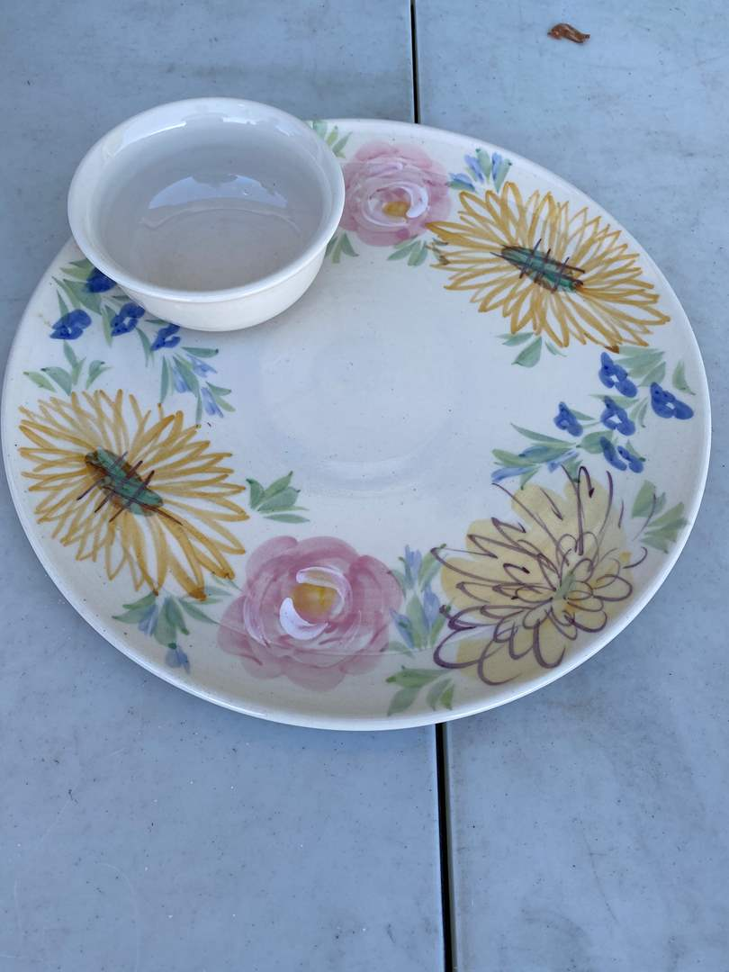 Lot # 133 - Vintage Serving Plate with attached Bowl (main image)