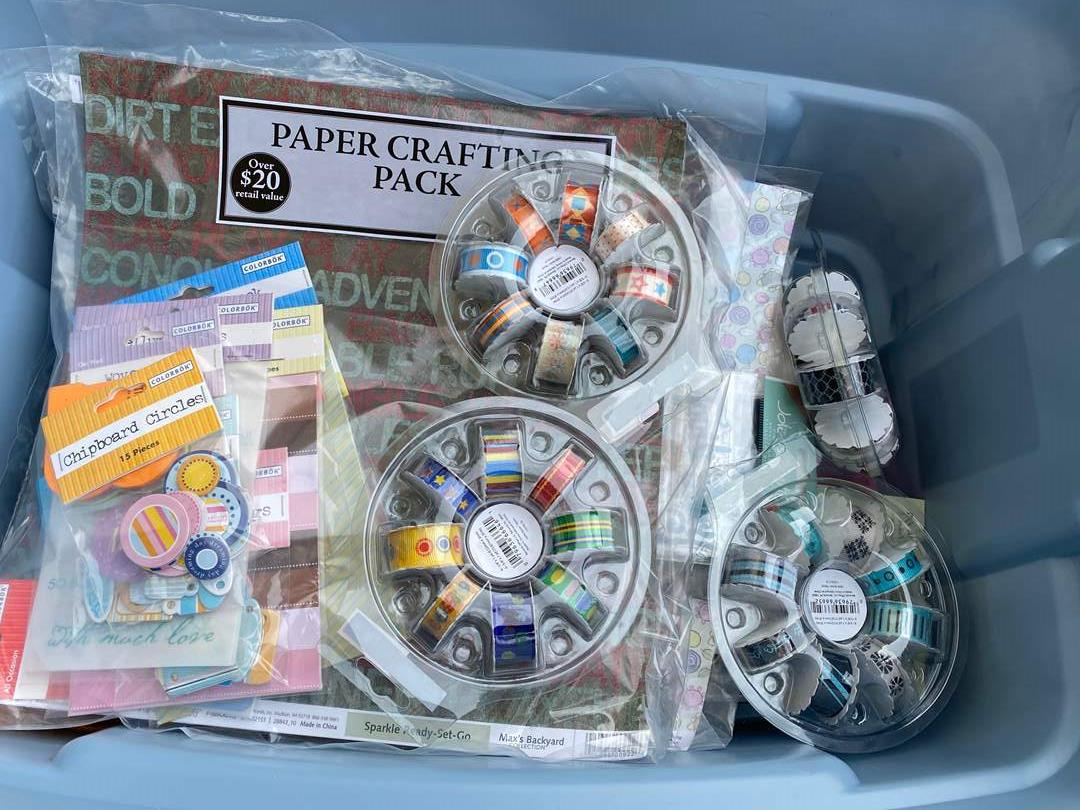 Lot # 20 - LARGE TOTE FULL OF NEW CRAFTING PAPER (main image)