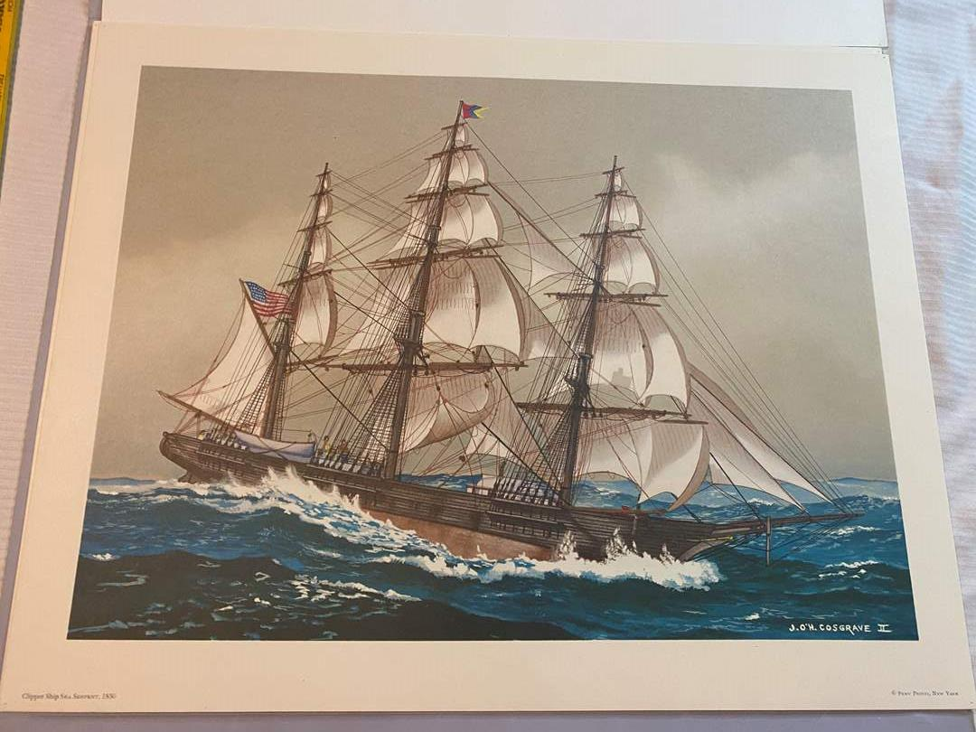 Lot # 106 - VINTAGE AMERICAN CLIPPER SHIP LITHOGRAPHS  - READY FOR FRAMING (main image)