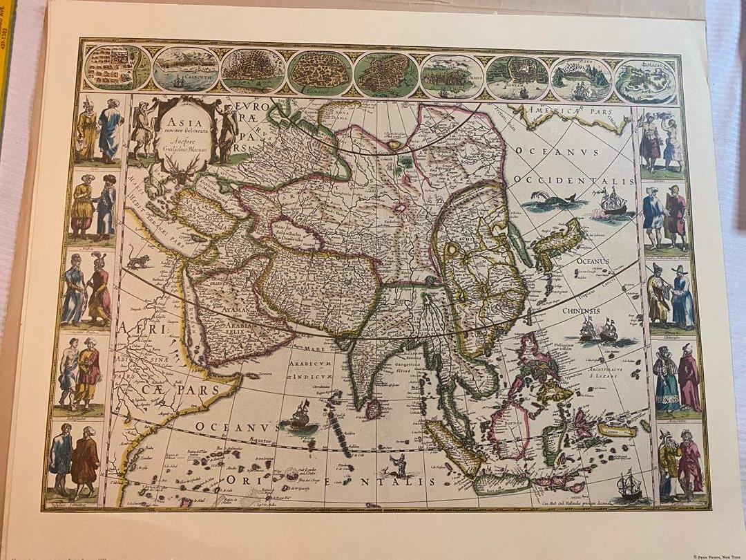 Lot # 107 - VINTAGE DECORATIVE OLD MAPS - READY FOR FRAMING (main image)