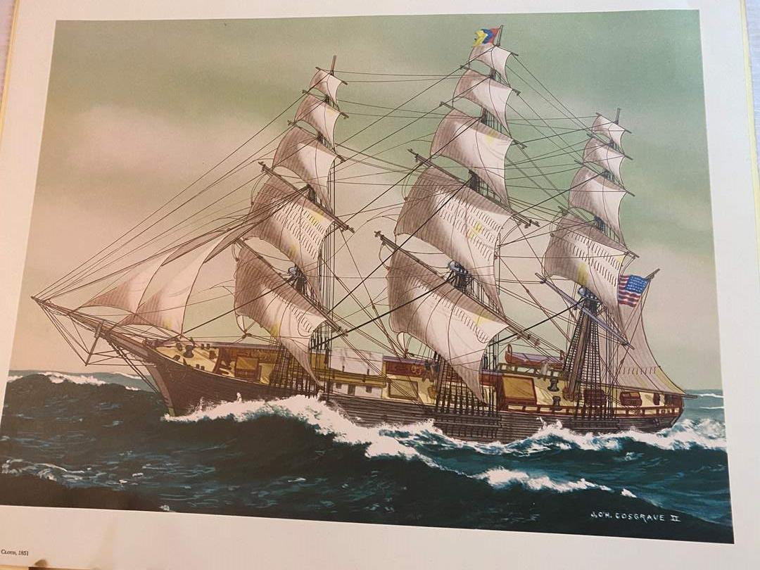 Lot # 109 - VINTAGE AMERICAN CLIPPER SHIP LITHOGRAPHS  - READY FOR FRAMING (main image)