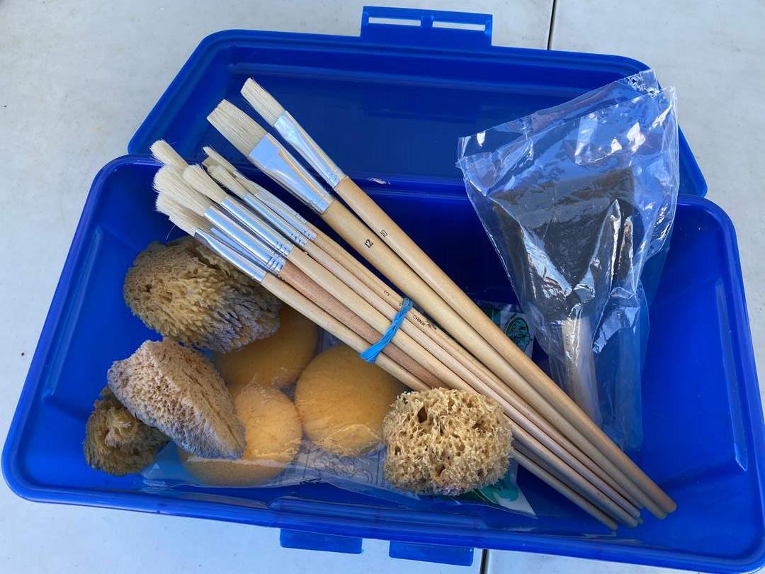 Lot # 121 - Box of New Brushes & Natural Sponges (main image)