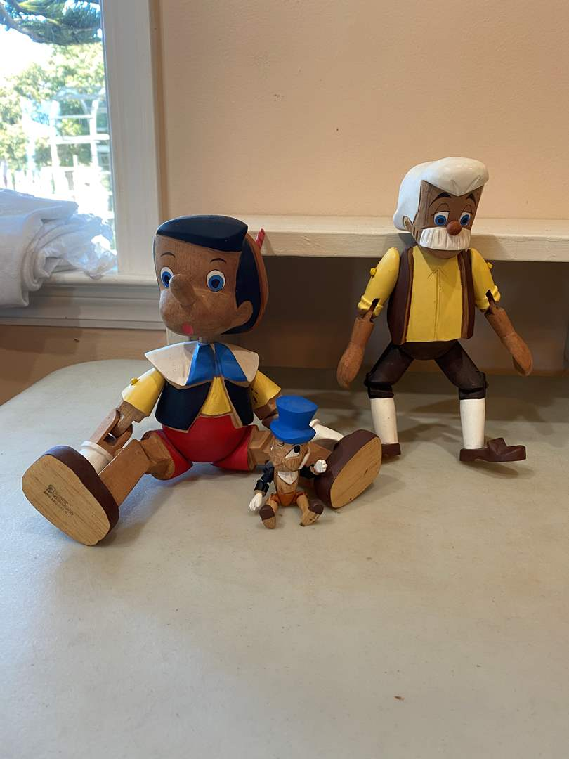 Lot # 99 -  Pinocchio! Geppetto! And Jiminy Cricket! Hand Carved Wooden / Jointed -  © Disney Made in Mexico (main image)