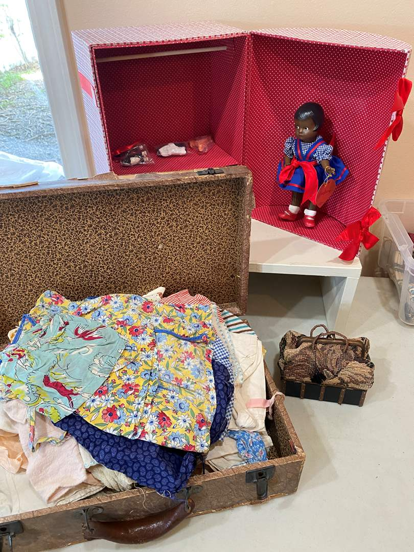 Lot # 105 - Box of Vintage Doll Clothes & Doll (main image)