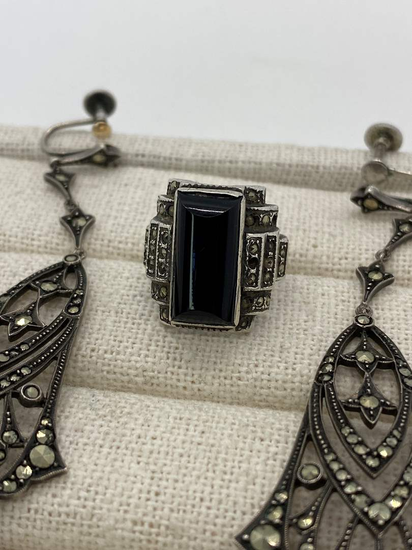 Lot # 1 - Antique Chandelier Sterling & Marcasite Earrings & Ring (main image)