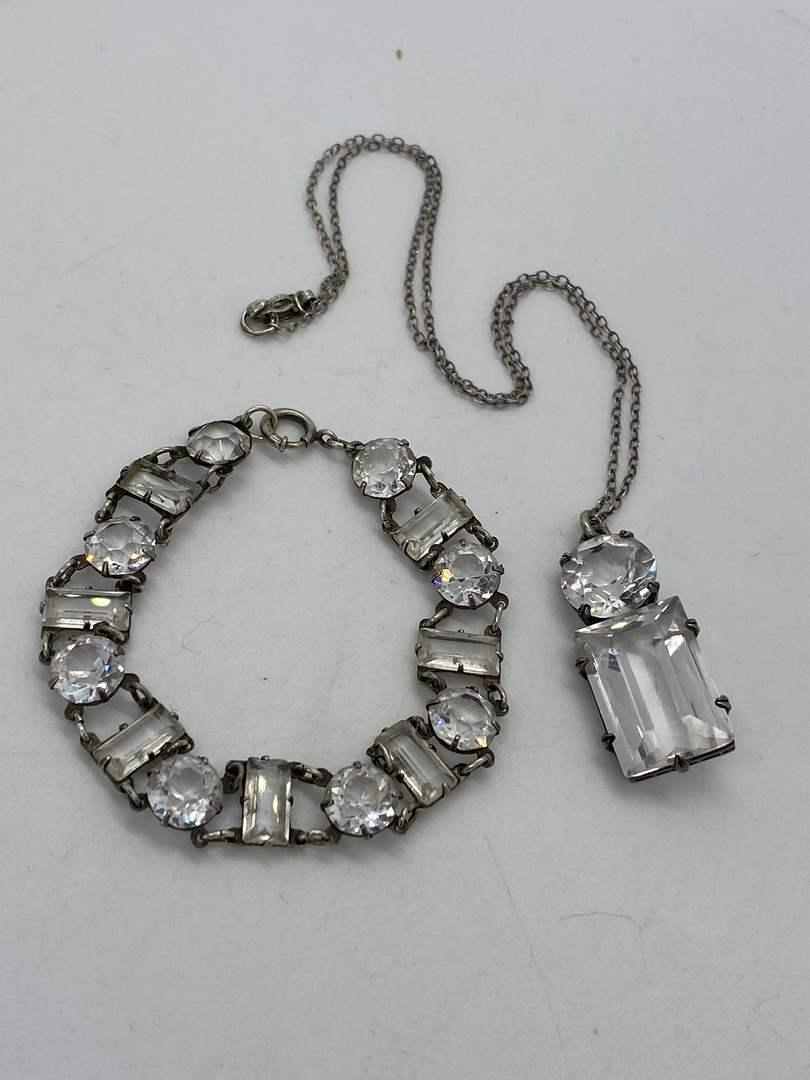 Lot # 2 - Antique Sterling & Crystal Bracelet and Necklace (main image)