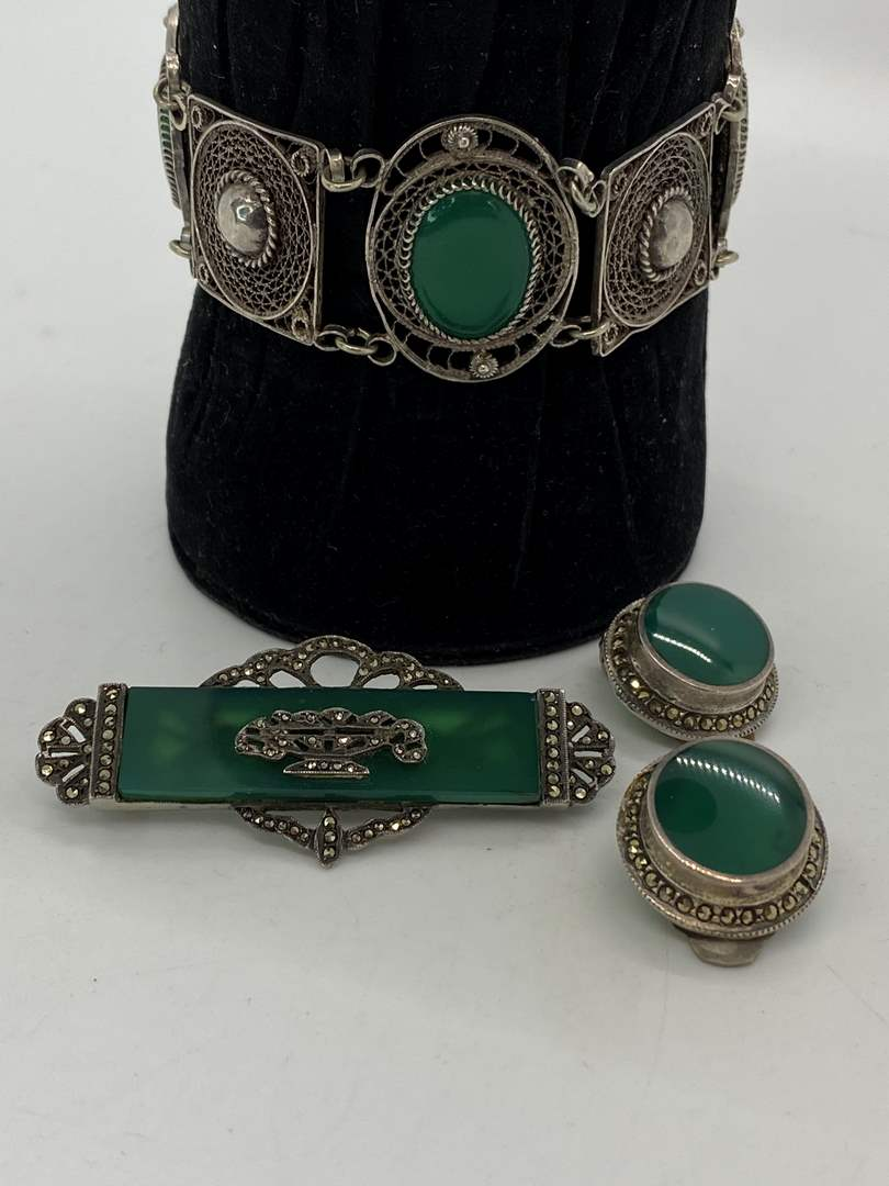 Lot # 5 - Sterling Silver, Jade, Glass & Marcasite Jewelry (main image)