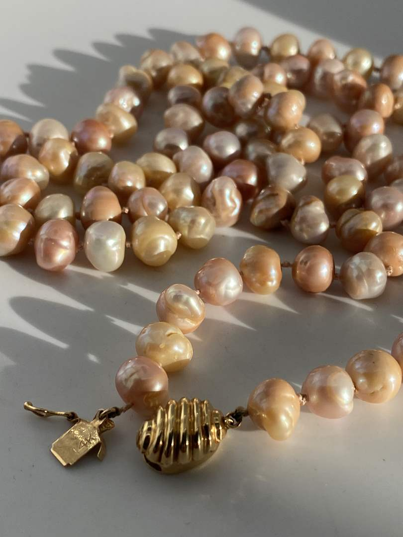 "Lot # 15 - Beautiful Set, 38"" Long Natural Pearls w/ 14k Gold Clasp (main image)"