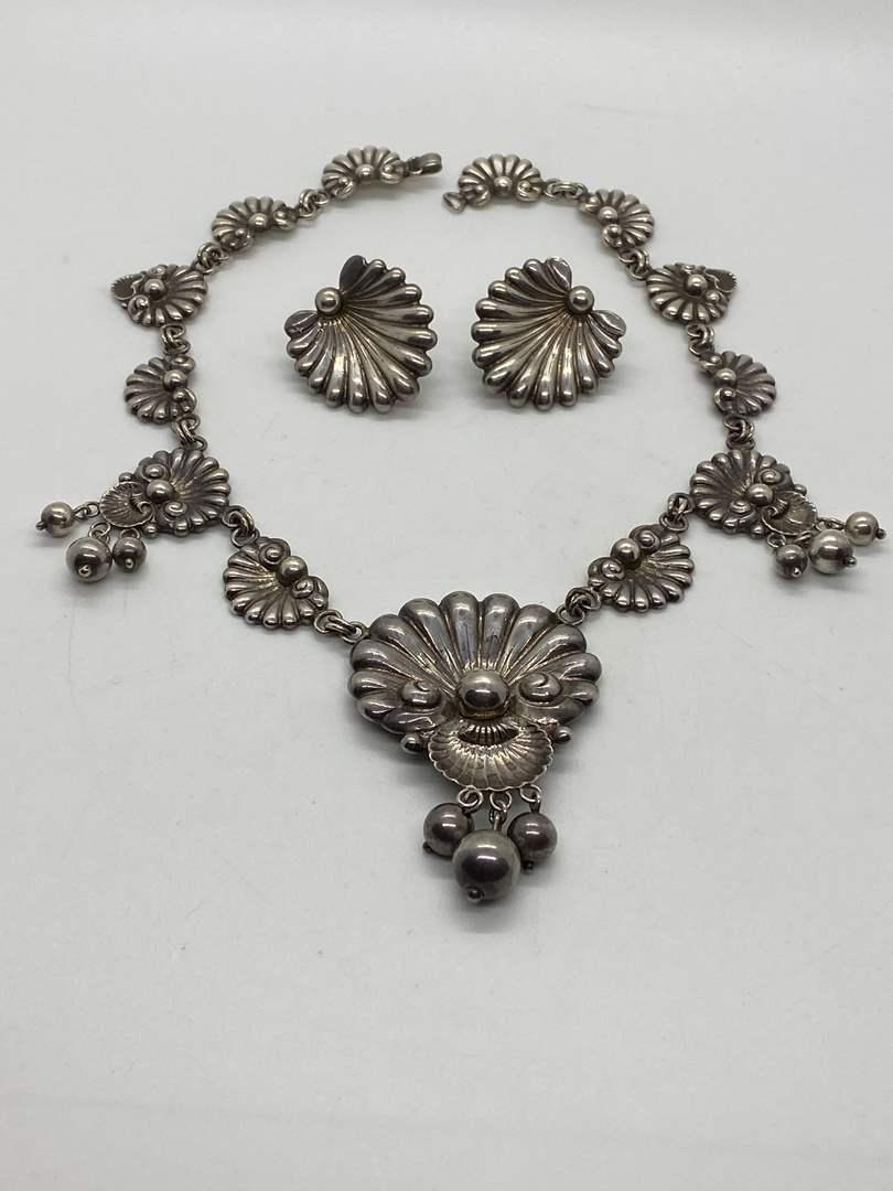 Lot # 24 - Guglielmo Cini Sterling Necklace & Earrings (75.2g) (main image)