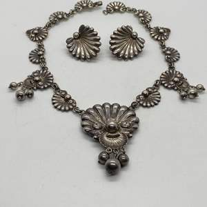 Auction Thumbnail for: Lot # 24 - Guglielmo Cini Sterling Necklace & Earrings (75.2g)