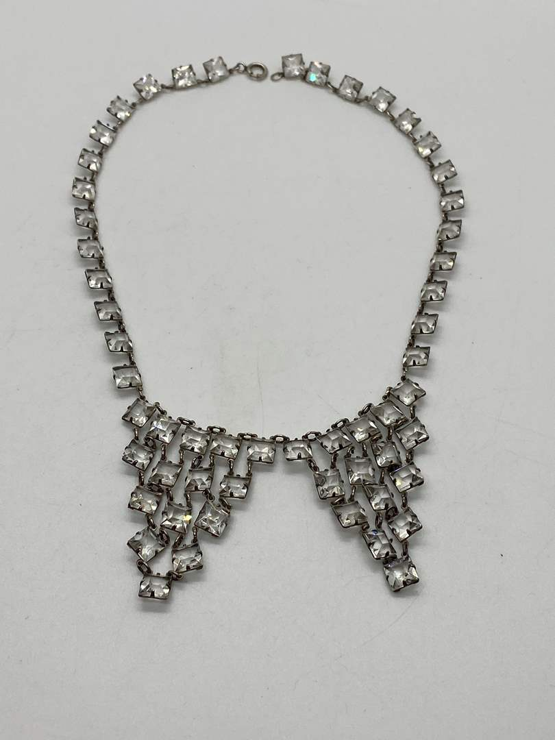 Lot # 28 - Vintage Sterling Silver & Crystal Necklace (main image)