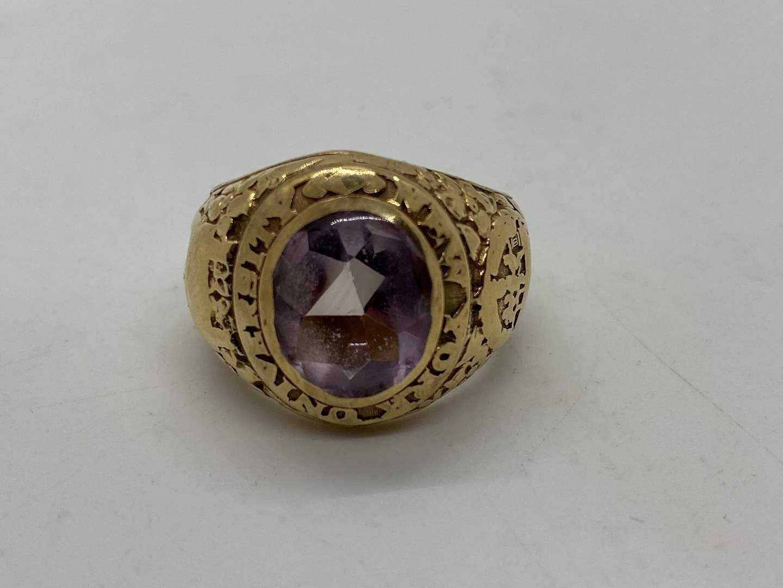 Lot # 30 - N.Y. University Class of '29 14k Ring (14.7g) with 5 Carat Amethyst & Small NYU Pin (main image)