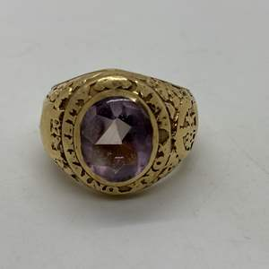 Auction Thumbnail for: Lot # 30 - N.Y. University Class of '29 14k Ring (14.7g) with 5 Carat Amethyst & Small NYU Pin