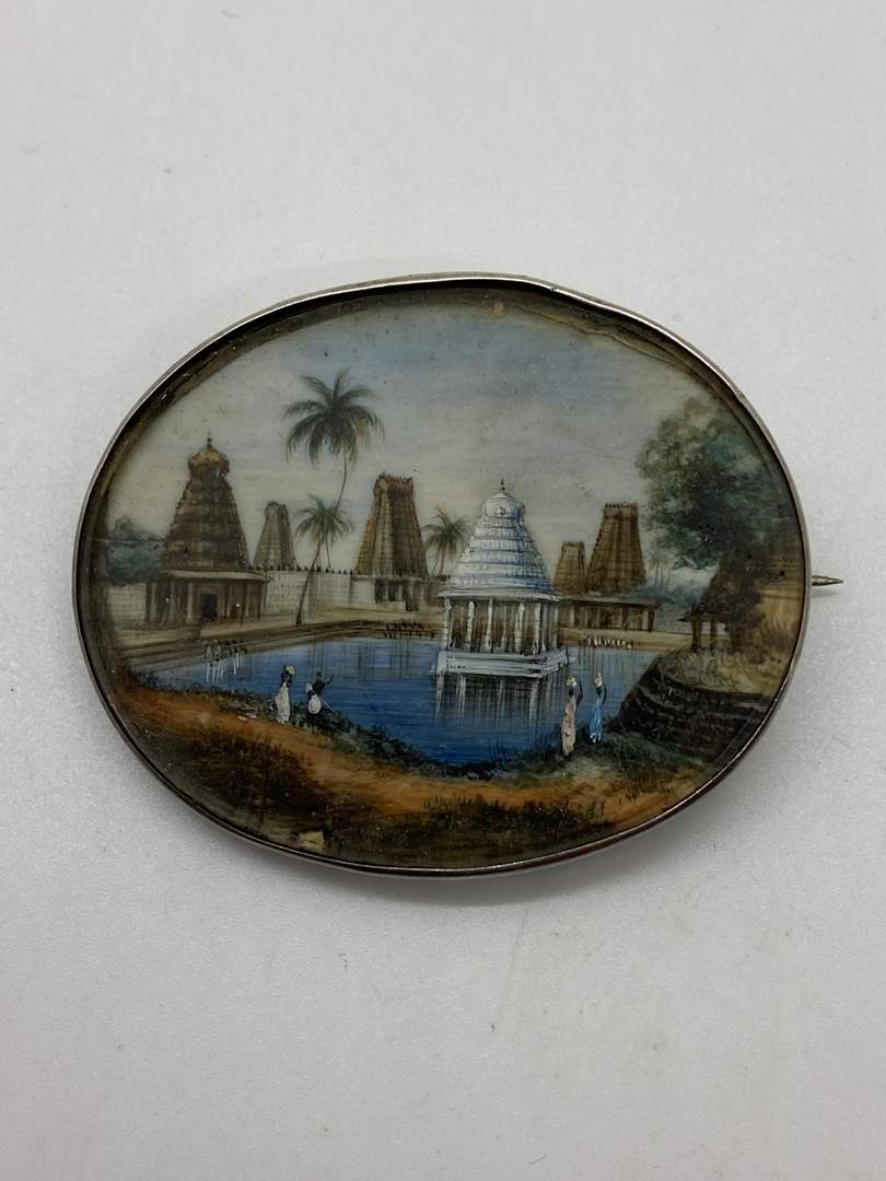 Lot # 43 - Antique Hand Painted Scenery Brooch (main image)
