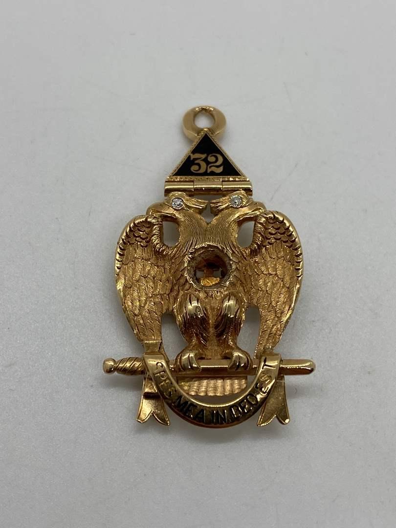 Lot # 47 - 14k Gold Masonic Pendant with Diamond Eyes (17.7g) (main image)