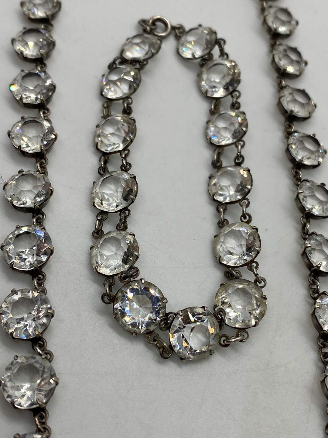 Lot # 29 - Sterling Silver & Crystal Necklace and Matching Bracelet (main image)