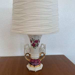 Lot# 1-Vintage Worrall Lamp w/ Swan Handles & Gold Accents