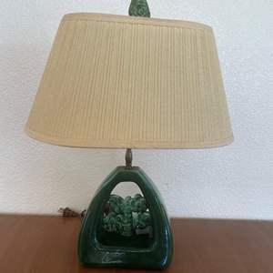Lot# 4-Vintage Ceramic Green Lamp