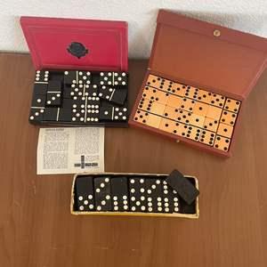 Lot# 11-Vintage Crisloid Top Grade Butterscotch Dominoes Set/Magna Dominoes Eagle Double Six Set/Black& White Dominoes Set
