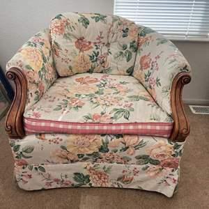 Lot# 36-Vintage Floral Arm Chair