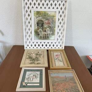 Lot# 42-Lattice Picture and Various Framed Pictures