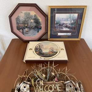 """Lot# 43-Thomas Kinkade Picture-""""Sunday Outing""""/Table Matts/Welcome Sign/Hexagon Framed Picture"""