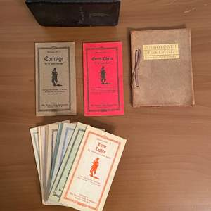 Lot# 60- Antique Trotty Veck Messengers booklets in leather case, whole set. Antique Henry Van Dyke The Foot Path to Peace