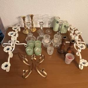Lot# 68- Metal, Wood and Glass Candle Stands