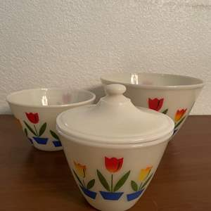 Lot# 81-Vintage Fire King Tulip Oven Safe Mixing Bowl w/Lid & Two Mixing Fire King Tulip Milk Glass Bowls
