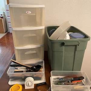 Lot# 88- Food Storage, Kitchen Utensils, Rolling Storage Bin