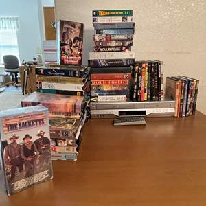 Lot# 89-  Toshiba DVD-VHS Player with extensive DVD and VHS Collection
