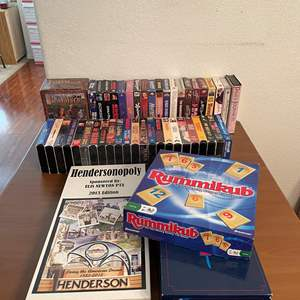 Lot# 91- Vintage Monoply Board Game, Henderson Nevada theme, extensive VHS Collection and board games