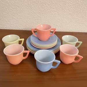 Lot# 97-Vintage 1940s HAZEL ATLAS Little Hostess MODERNTONE Pastel Glass CHILD'S TEA SET