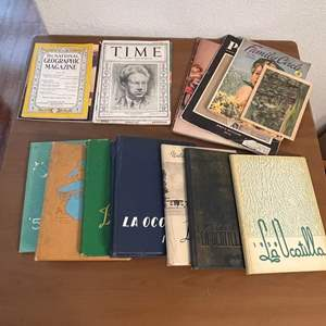 Lot# 98- Vintage Time Magazines, National Geographic 1944, Vintage High School Year Books
