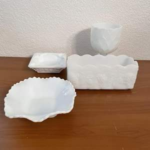 """Lot# 104-Vintage Milk Glass Square Candy Dishes/Vintage Anchor Hocking Fire King 8"""" White Milk Glass Grapevine Planter"""