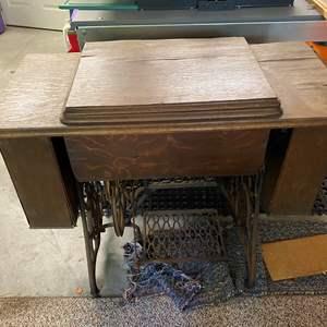 Lot # 35 - Antique Singer Treadle Machine and Cabinet for Decor