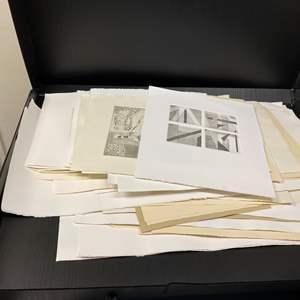 Lot # 42 - Portfolios full of original art, etchings and hand made paper
