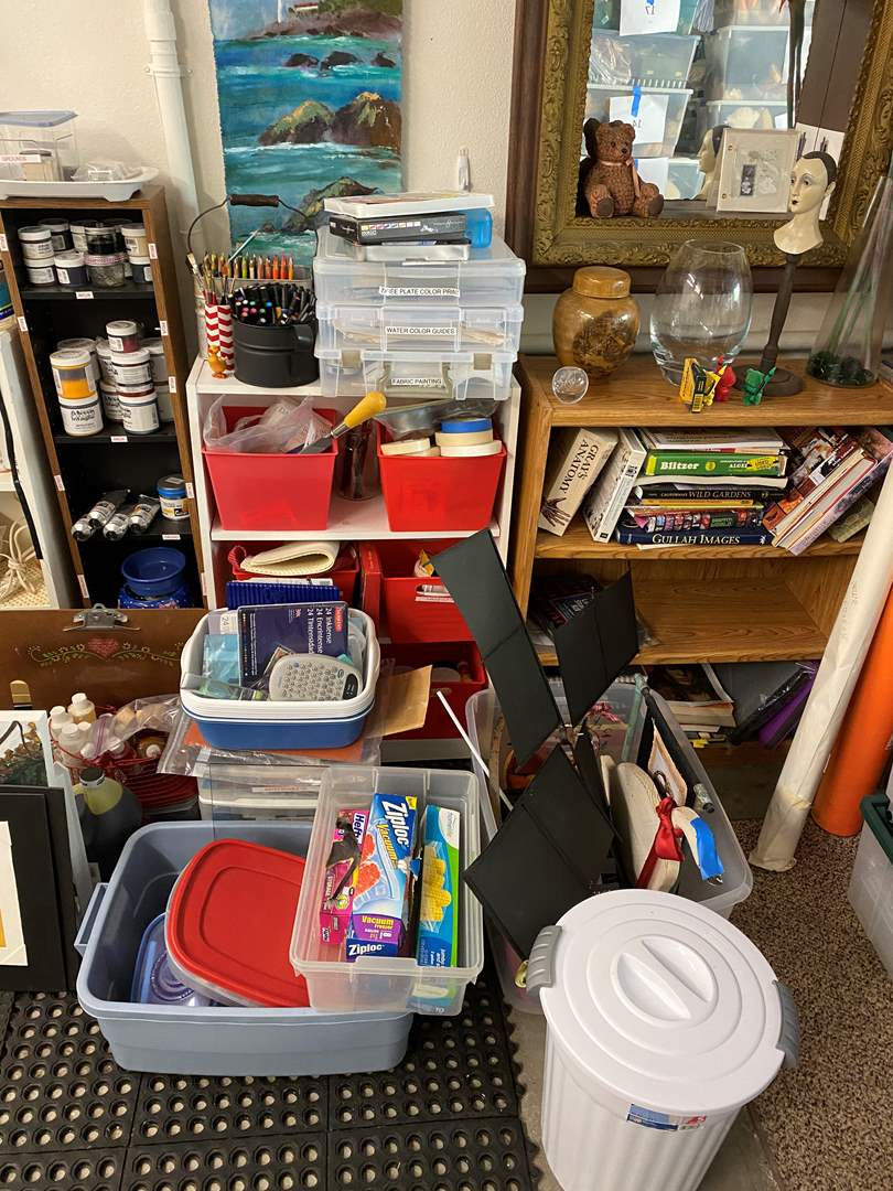 Lot # 53 - HUGE art supply lot - includes book cases, print making and supplies for various mediums (main image)