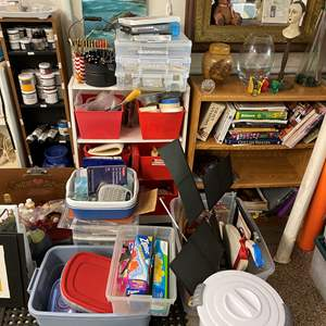 Lot # 53 - HUGE art supply lot - includes book cases, print making and supplies for various mediums
