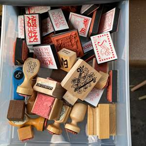 Lot # 66 - LARGE Lot of rubber stamps w/Caddy